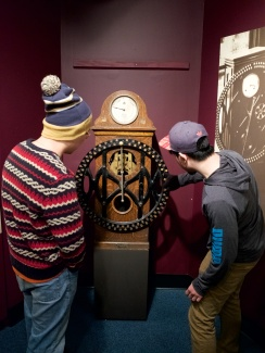 "Tony and Melvin fascinated by the IBM time card machine. This was the OG ""punch clock"""
