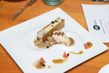 """Brick pastry bar with maple butter cremeux, maple bacon icecream and a sherry maple sauce"". The dish also contained smoked buckwheat crumble, espresso jelly and a malt foam !"